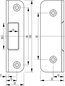 Gâche équerre pour serrure anti-panique SECURY-Automatic 2110 / 2116