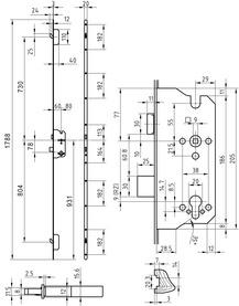 Serrures multipoints GLUTZ MINT 18937 pour ferrements électronique