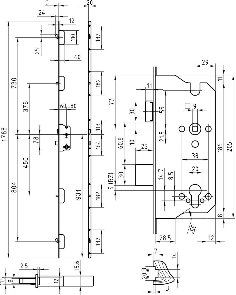 Serrures multipoints GLUTZ MINT 18957 pour ferrements électronique