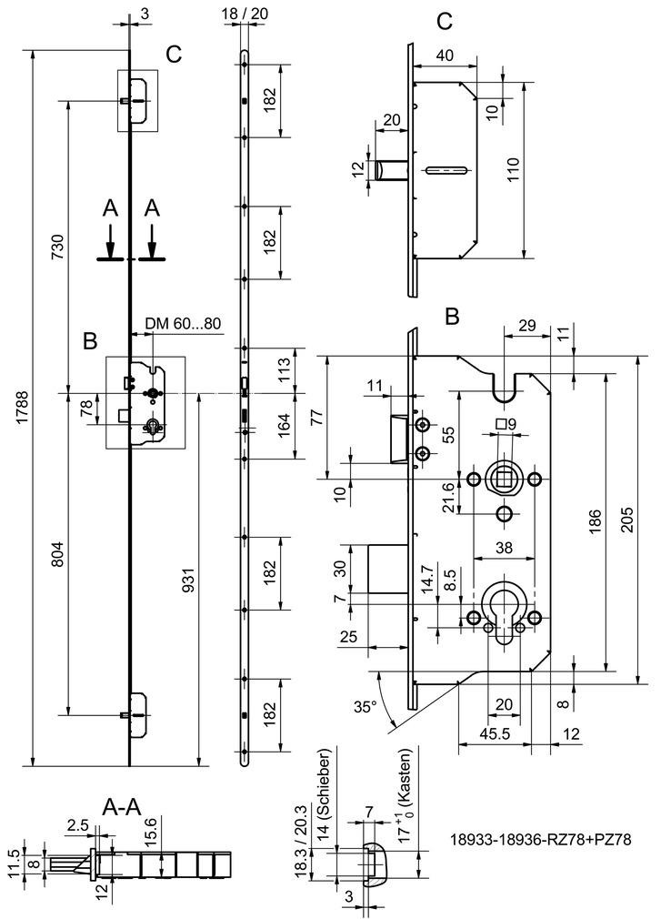Serrures multipoints GLUTZ MINT 18938 Combi (à 1 tour)