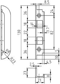 Lastrina di chiusura angolare per catenacci GLUTZ B-1153