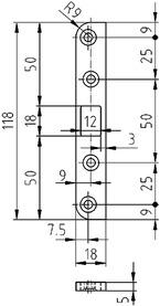 Controcartella piana per catenaccio GLUTZ B-1155