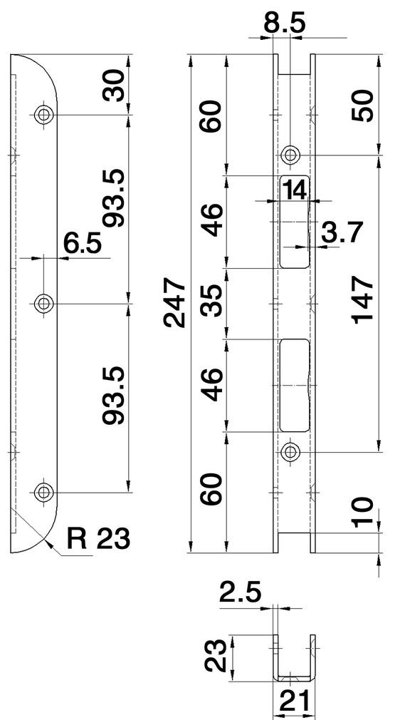 Gâches de rénovations GLUTZ B-1151pour gabarits de fraisage MUCK SBFL 32