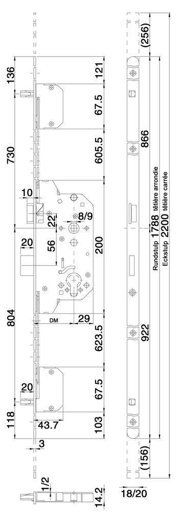Serrures de sécurité à mortaiser MSL POLY TRIBLOC 1855 verrouillage multipoints