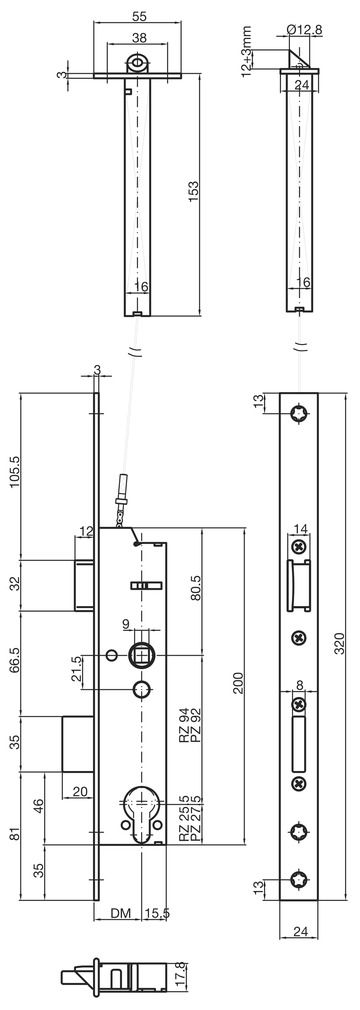Serrure à mortaiser de sûreté cadre tubulaire MSL DELTA 19461