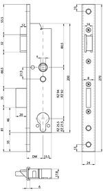 Serratura d'infilare di sicurezza antipanico telaio tubolare MSL DELTA 19444 PE