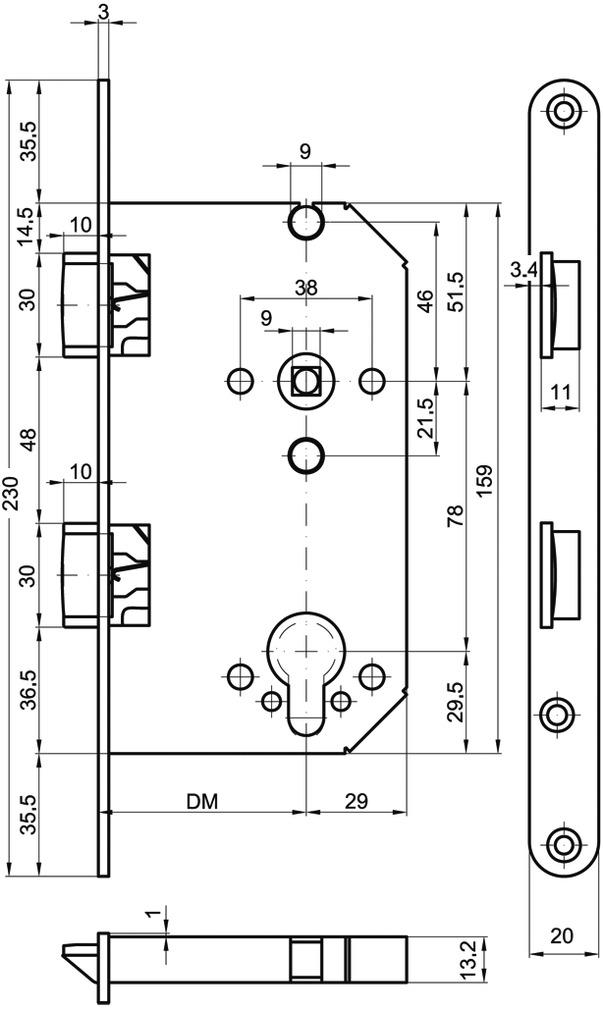 Zweifallen-Panik-Einsteckschlösser MSL CASA 1236PDa