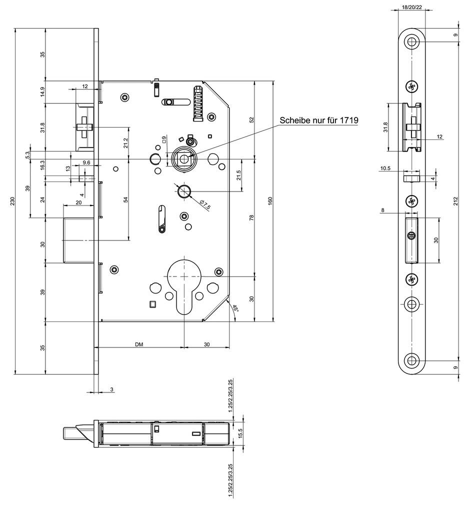 Panik-Sicherheits-Einsteckschlösser MSL CASA-Alpha 40104PE-SV