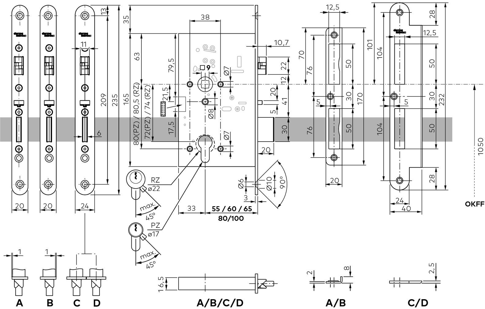 Serrures anti-panique électrique à béquille embrayableet verrouillage automatique dormakaba SVP 6000