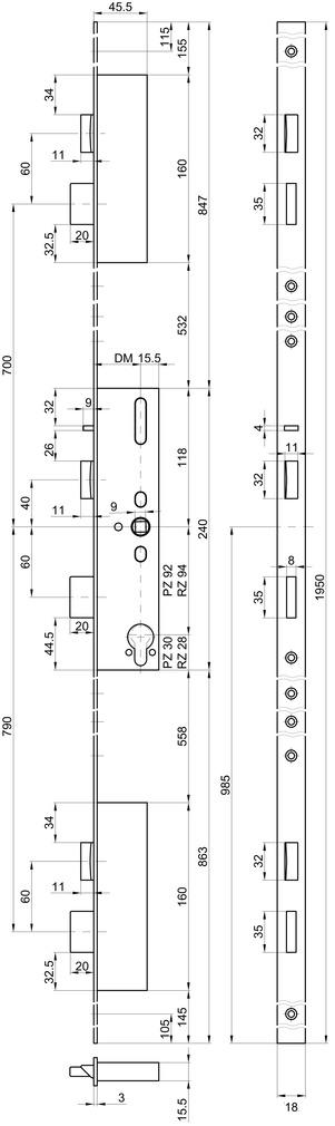 Panik-Mehrpunkt-Verriegelungen MSL FlipLock 24544 PE-SV