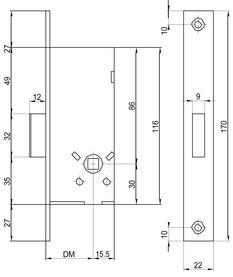 Serrature d'infilare WC per telai tubolari a catenaccio MSL PORTA 1923