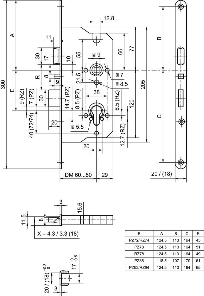 Panik-Einsteckschlösser GLUTZ 18907 MINT SV ELK PC