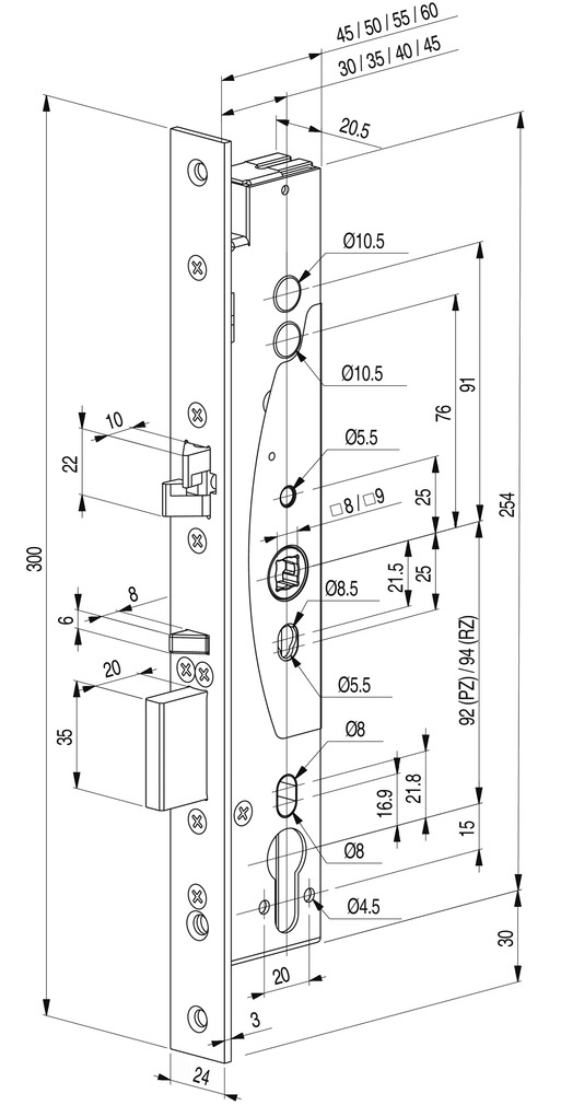 Serrature antipanico con funzione di autochiusura eff-eff meccaniche 309X