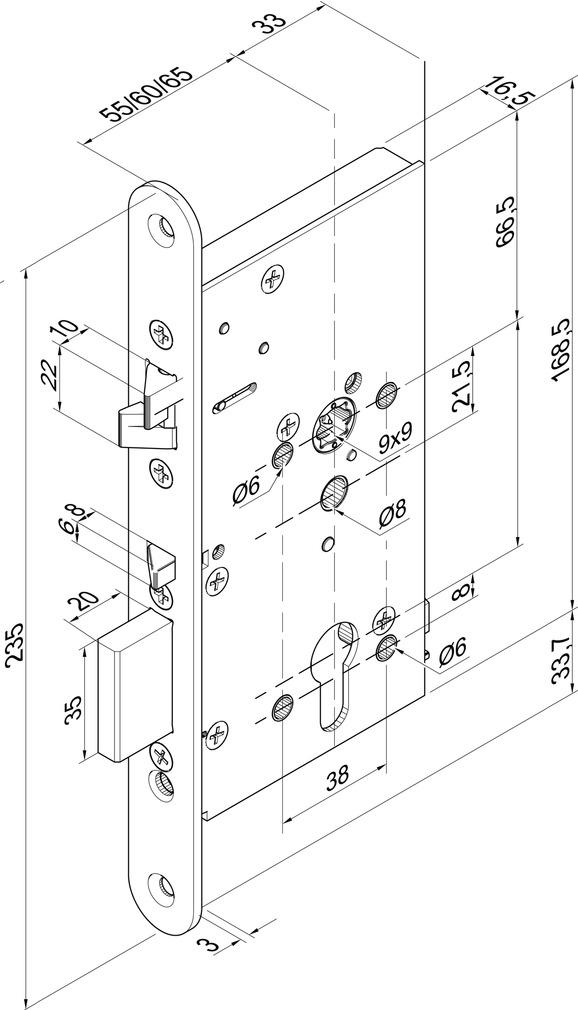 Serrures antipaniques à verrouillage automatique eff-effà béquille contrôlée 709X