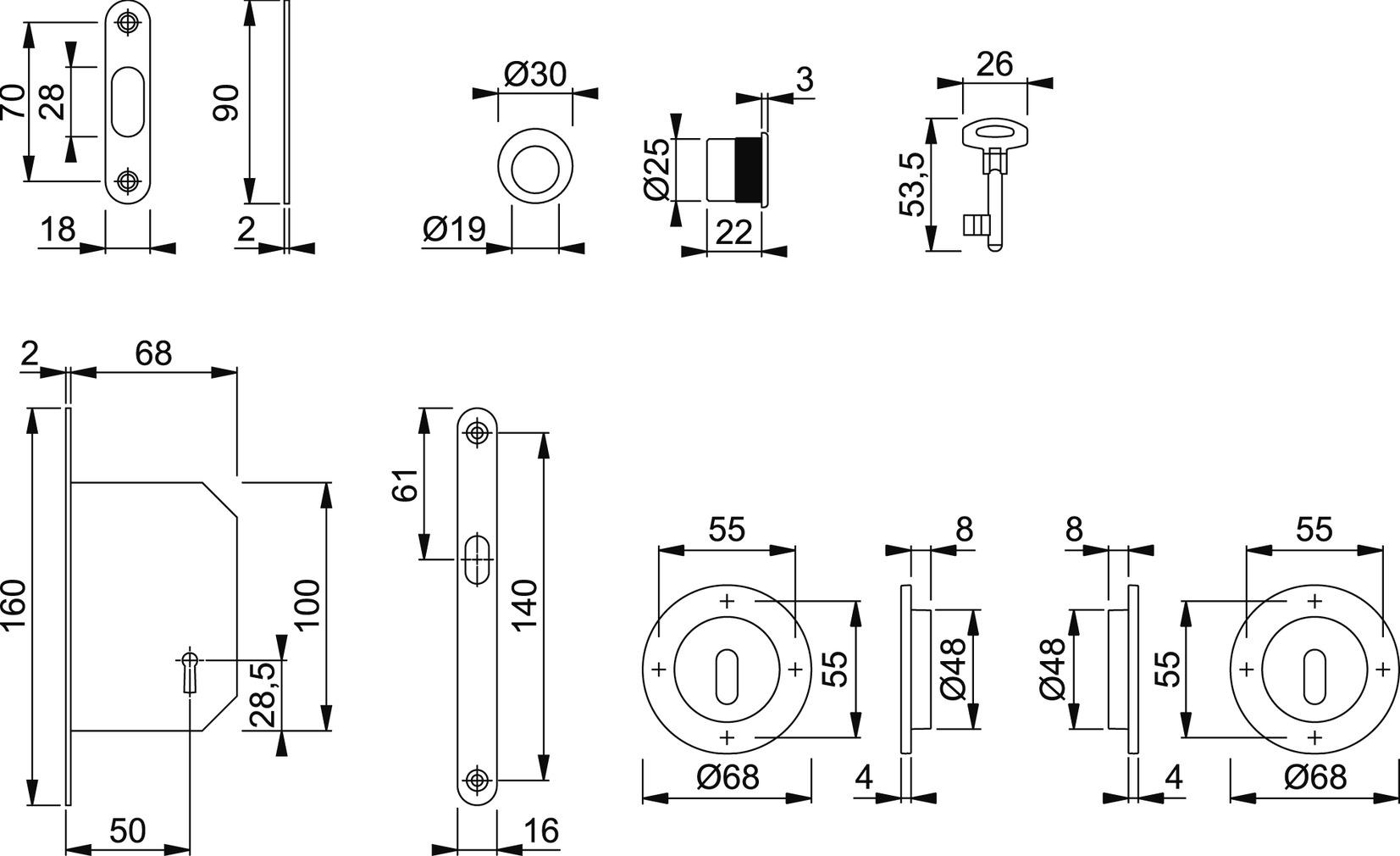 Kit per porte scorrevoli HOPPE M471-Set 3