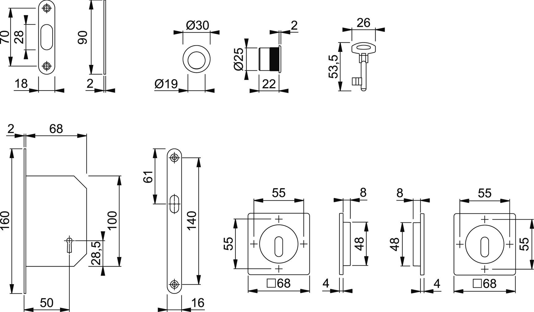 Schiebetürset HOPPE M443-Set 3