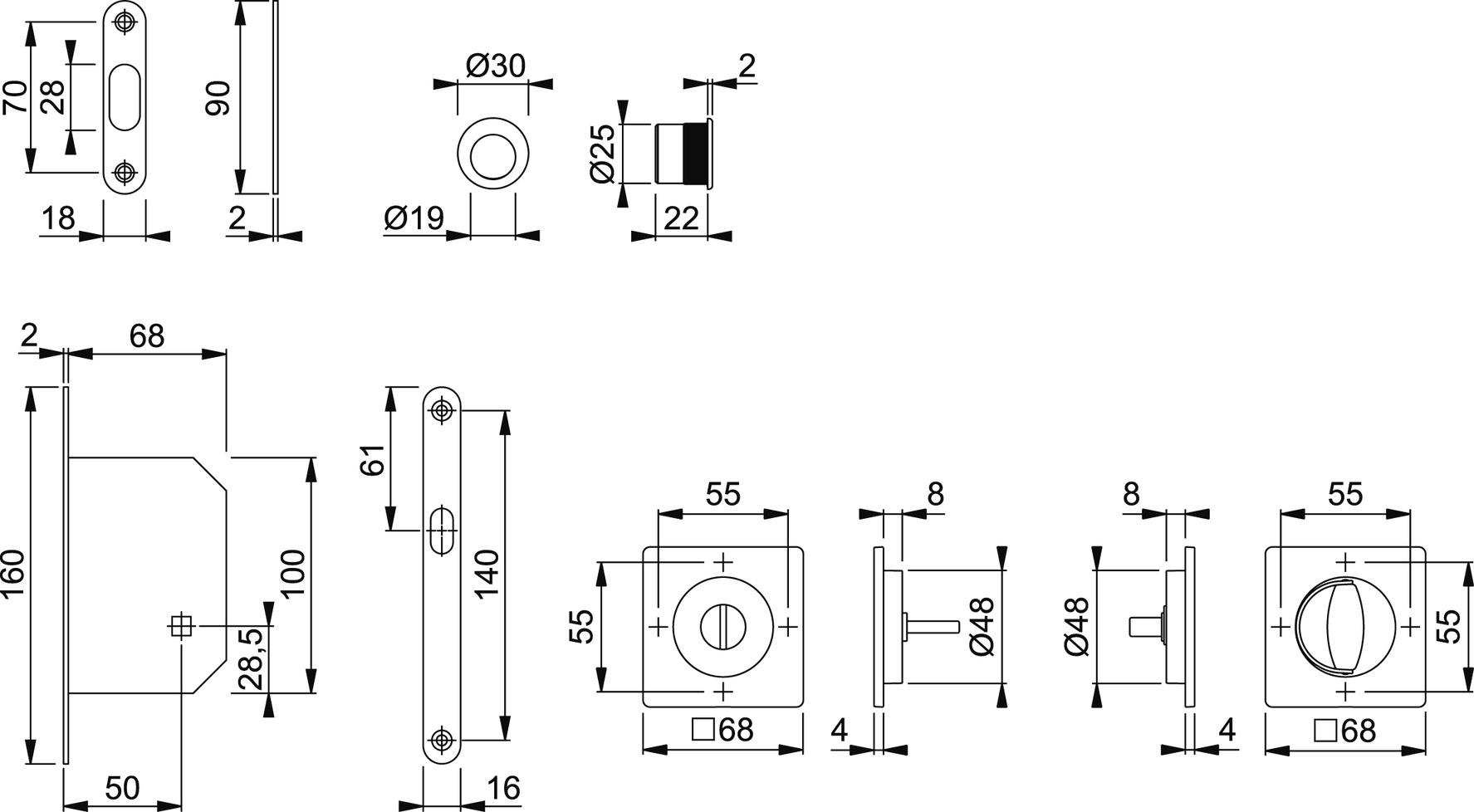 Jeu pour portes coulissantes HOPPE M443-Set 6
