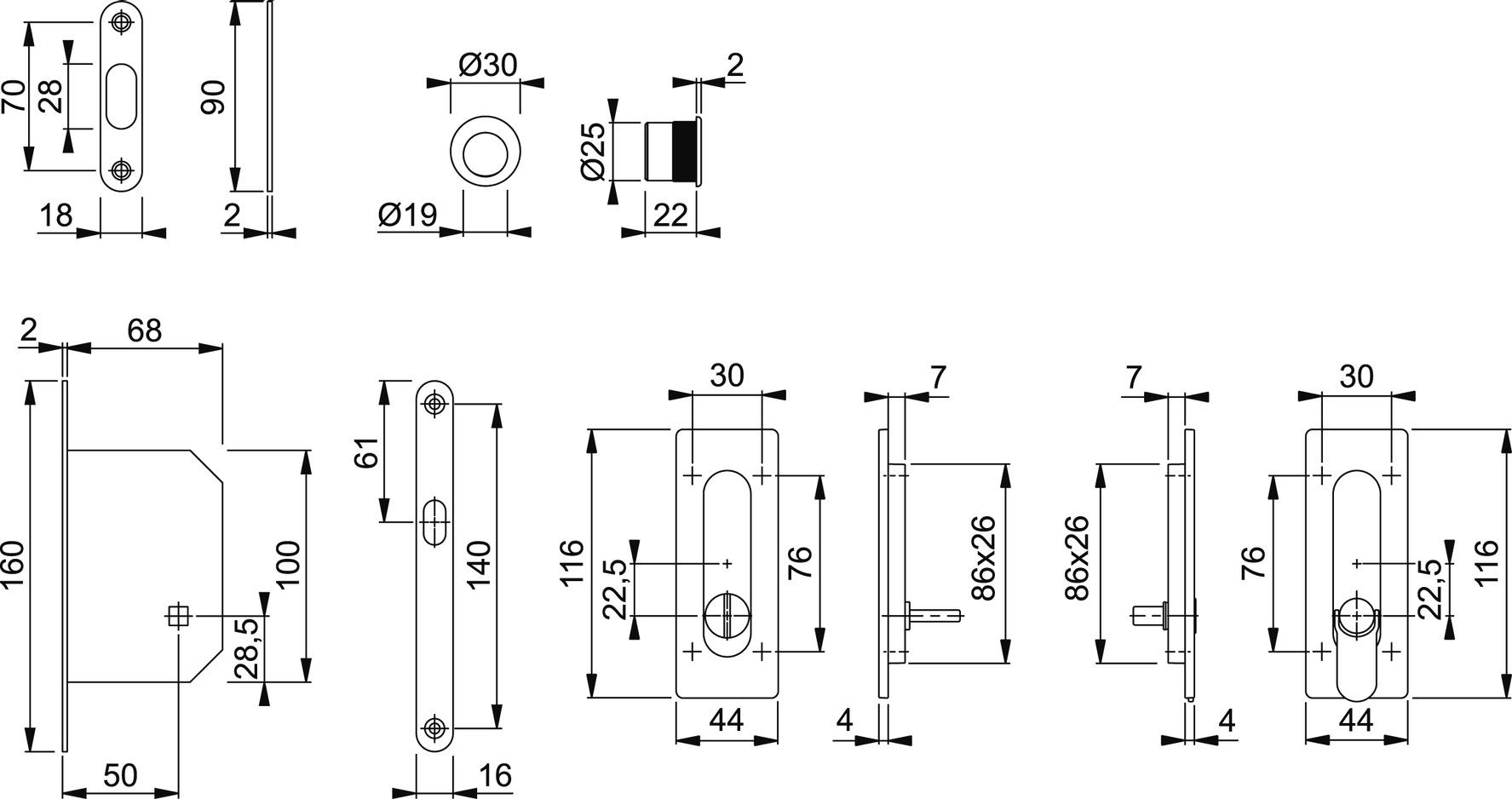 Kit per porte scorrevoli HOPPE M464-Set 6