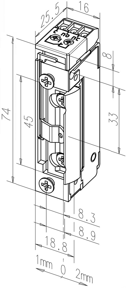 Elektro-Türöffner eff-eff 11805RR FaFix mit Radiusfalle