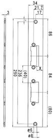 Controcartelle piane per serrature d'infilare con 2 catenaccio eff-eff Profix 2