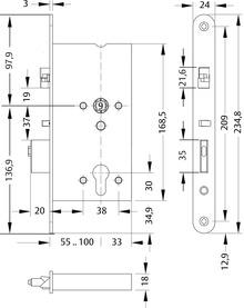 Serrure pour porte de secours à gâche électrique MEDIATOR 609