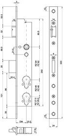 Serratura d'infilare di sicurezza antipanico telaio tubolare MSL DELTA 19544 PE-SV