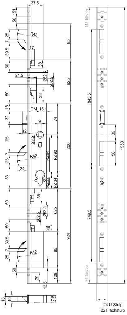 Sicherheits-Mehrpunkt-Verriegelungen MSL ProfilTribloc 19351