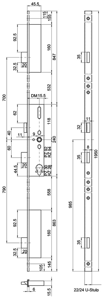 Serrures verrouillage multipoints MSL FlipLock Basis 23421