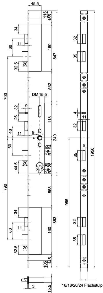Serrures verrouillage multipoints MSL FlipLock Standard 24421