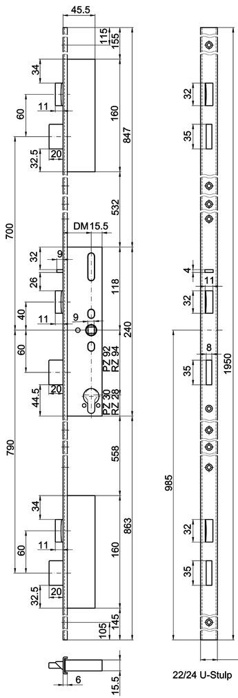 Serrures verrouillage multipoints MSL Standard 24421