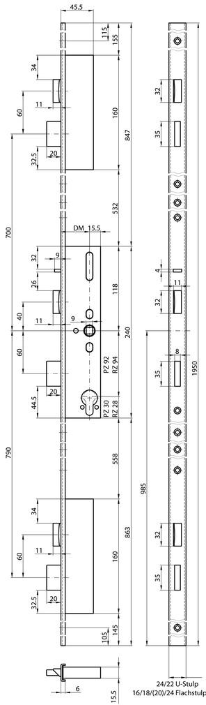 Serrures de sécurité à mortaiser MSL FlipLock 24544 PE-SV