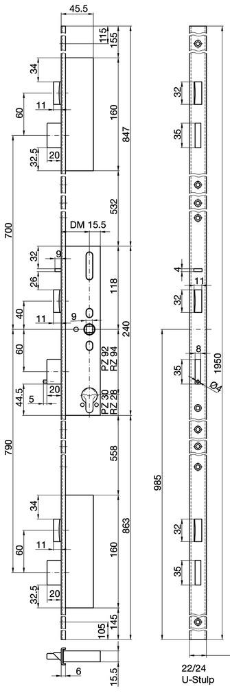 Serrures verrouillage multipoints MSL FlipLock drive 24544 PE-SV-ZF
