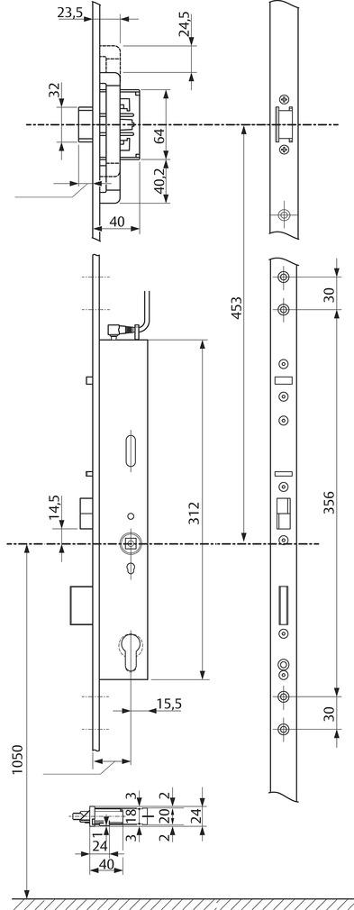 Serrures anti-panique multipoints à verrouillage automatique eff-eff OneSystem 519NE avec serrure à bec de cane