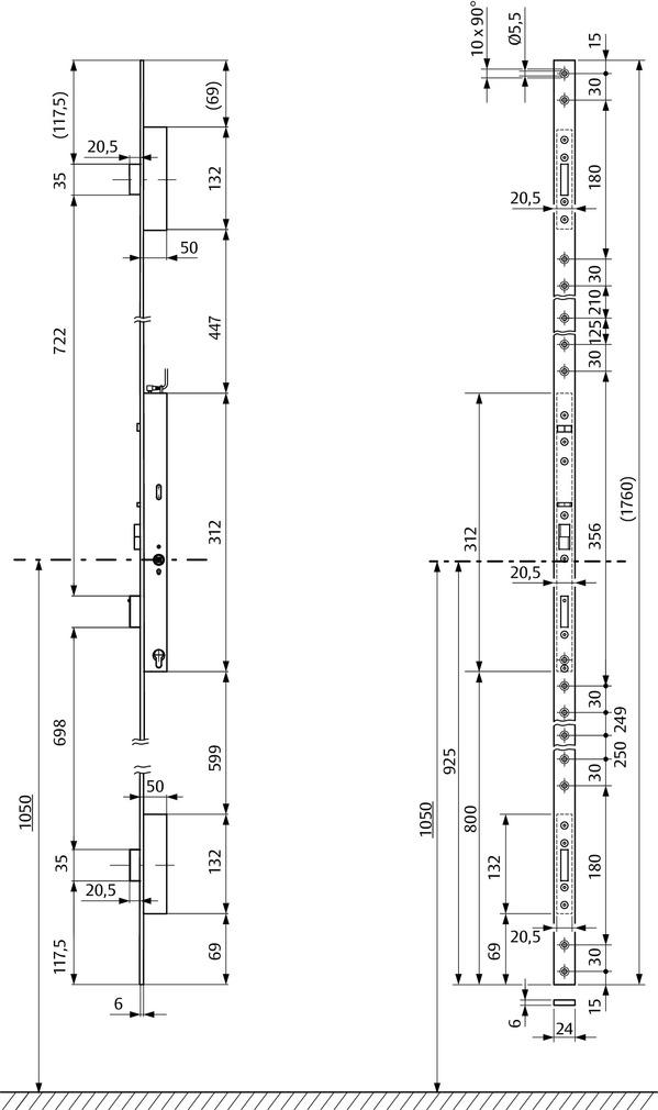 Serrures anti-panique multipoints à verrouillage automatique à béquille contrôlée effeff OneSystem 819NE