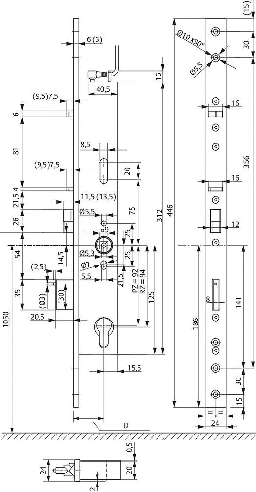 Serrature con funzione di autochiusura con comando maniglia eff-eff OneSystem 809NO senza funzione antipanico