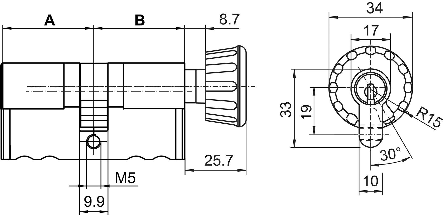 Profil-Drehknopfzylinder 17 mm Kaba 20 Typ M1419