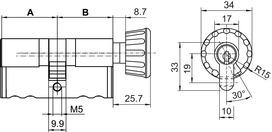 Cylindres doubles avec bouton tournant  Kaba 20 type M1419