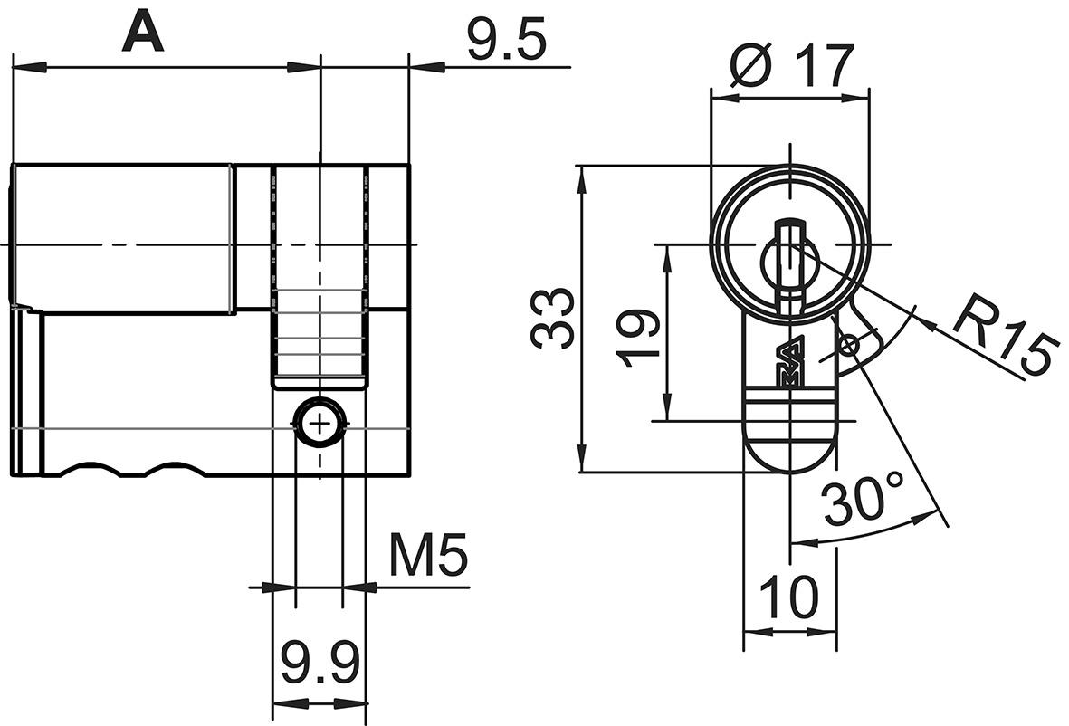 Profil-Halbzylinder 17 mm Kaba 20 Typ M1414