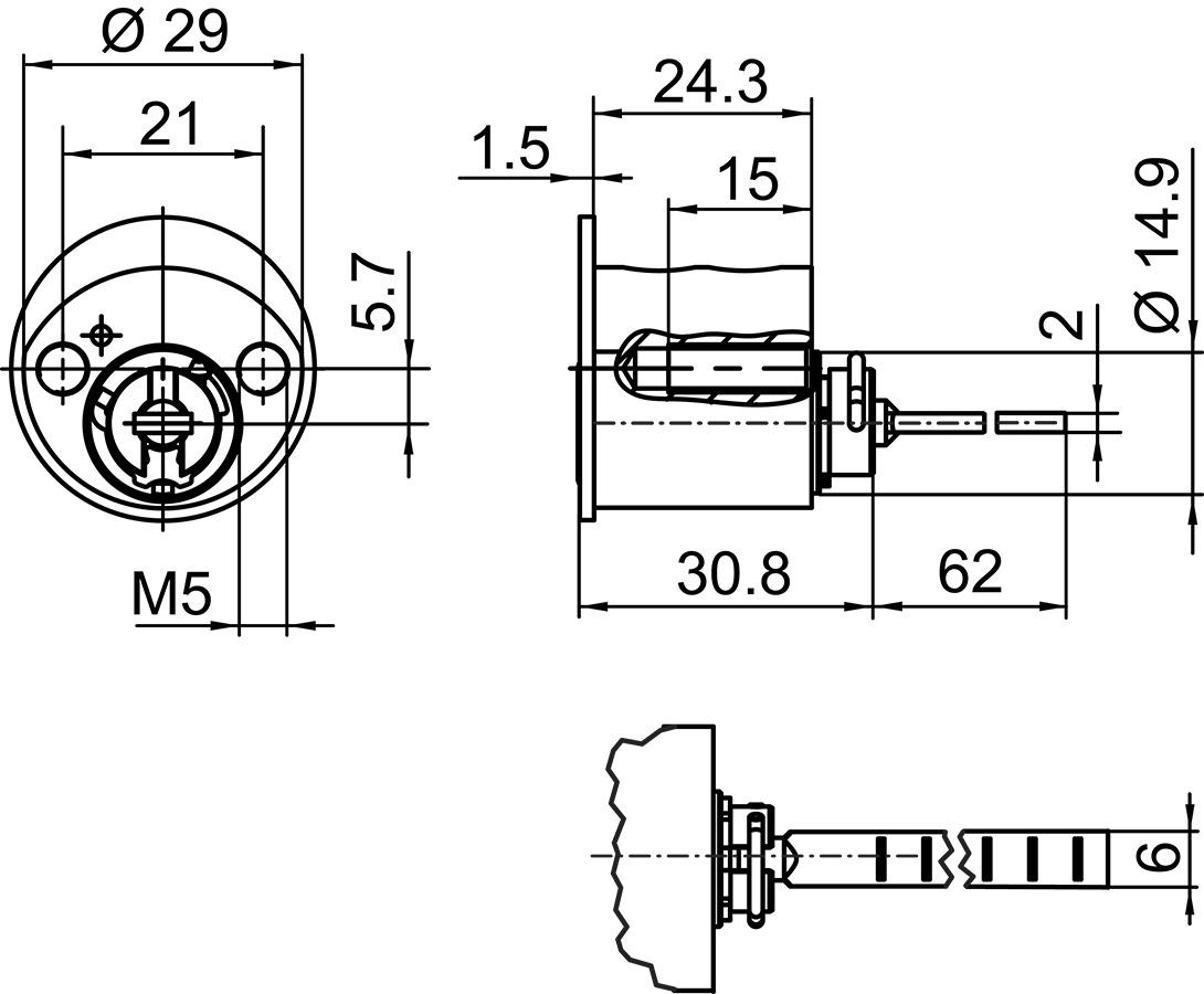 Aussenzylinder Kaba 20 Typ M1007 B