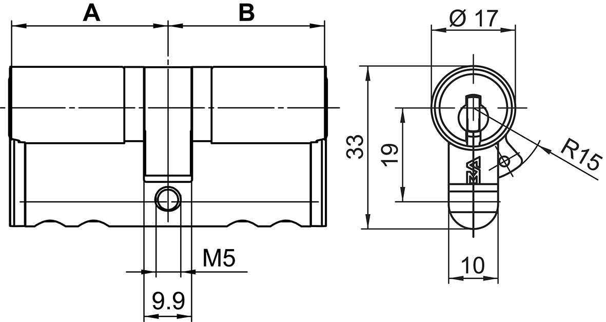 Cilindro doppio Euro Kaba star tipo M1415