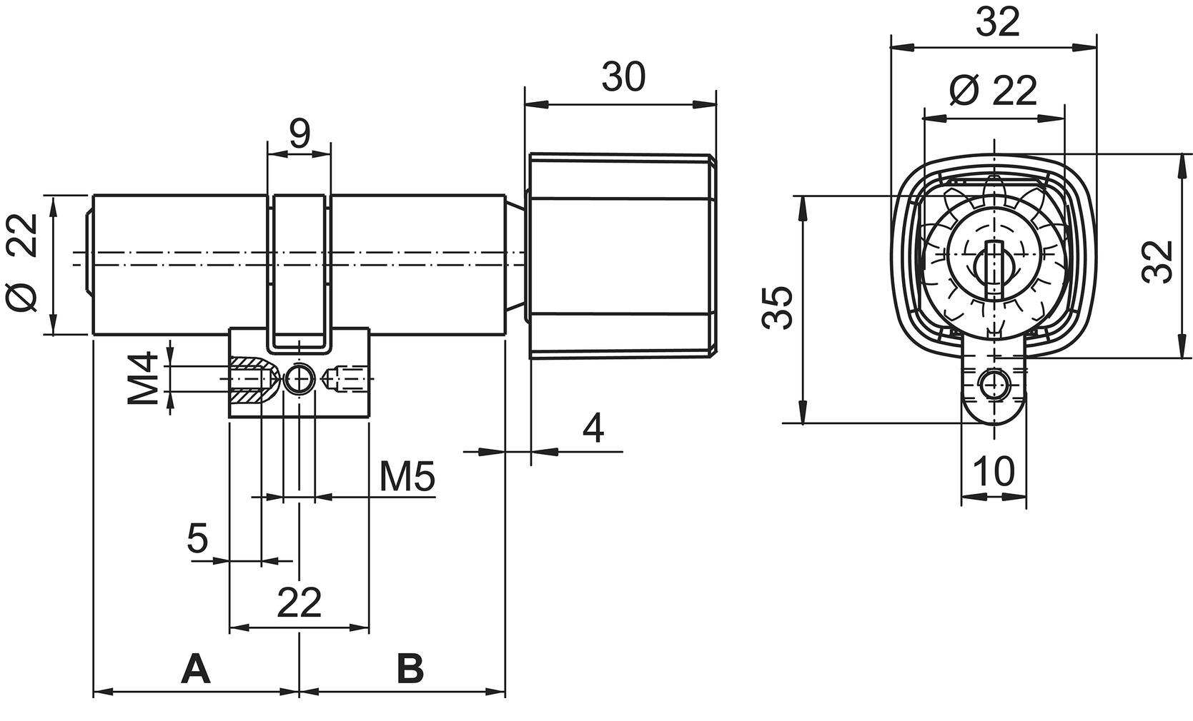 Drehknopfzylinder Kaba star Typ M1519 H