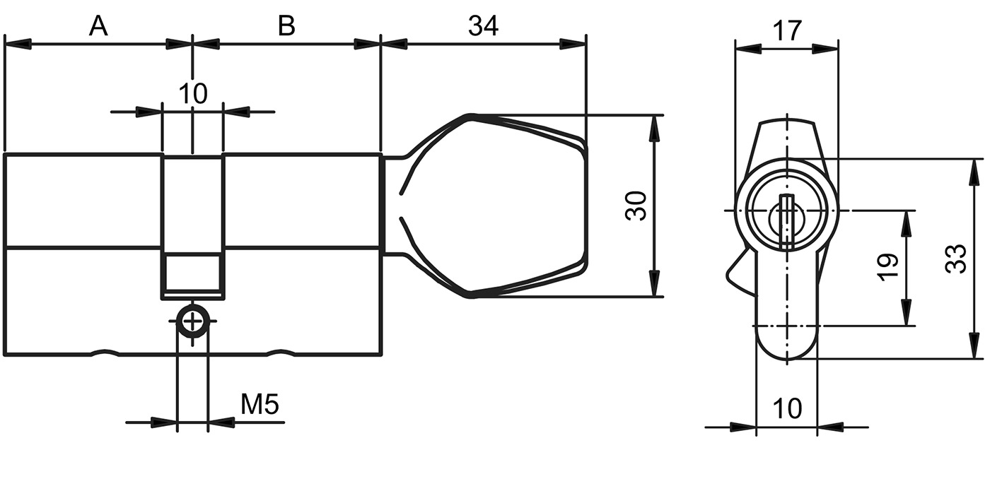 Cylindres doubles avec bouton tournant profil GLUTZ mAccess type 81150 Basic OPO 3+4