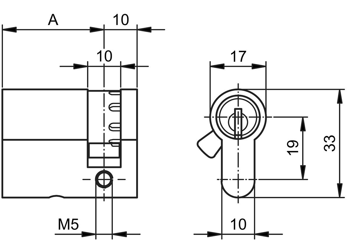Demi-cylindres profil GLUTZ mAccess type 81175 Basic OPO 3+4