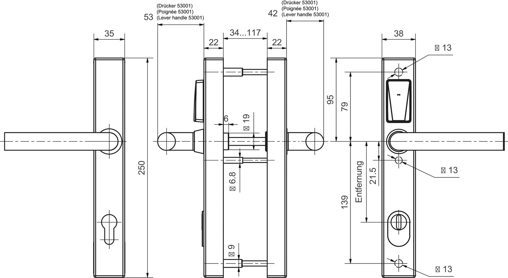 E-Beschlag GLUTZ eAccess schmal Stahl Public 80580 - ES 1