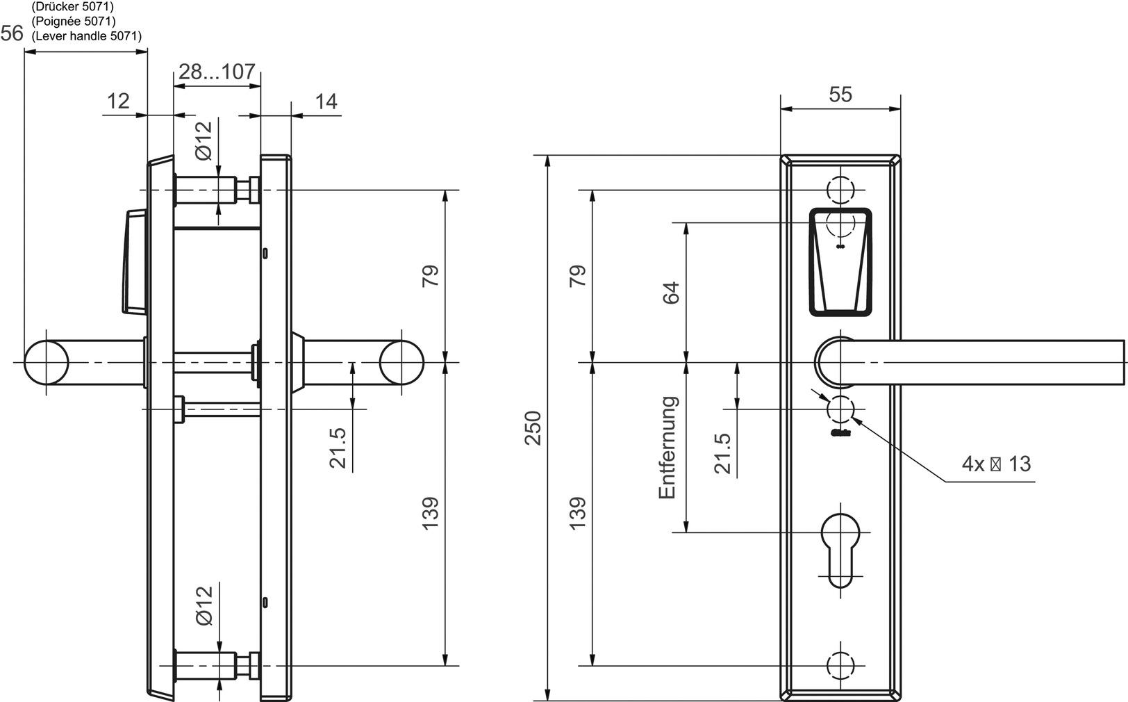 Ferramenta elettr. GLUTZ eAccess ES-3 Privat 80160