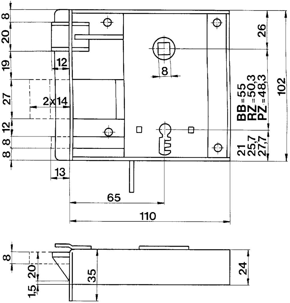 Serrures en applique pour portes de chambre SCHÄNIS 2005