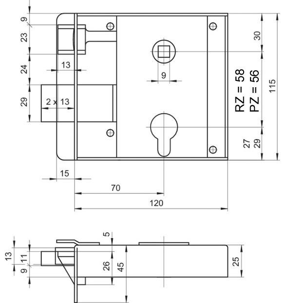 Serrures en applique pour portes d'entrée SCHÄNIS 2103