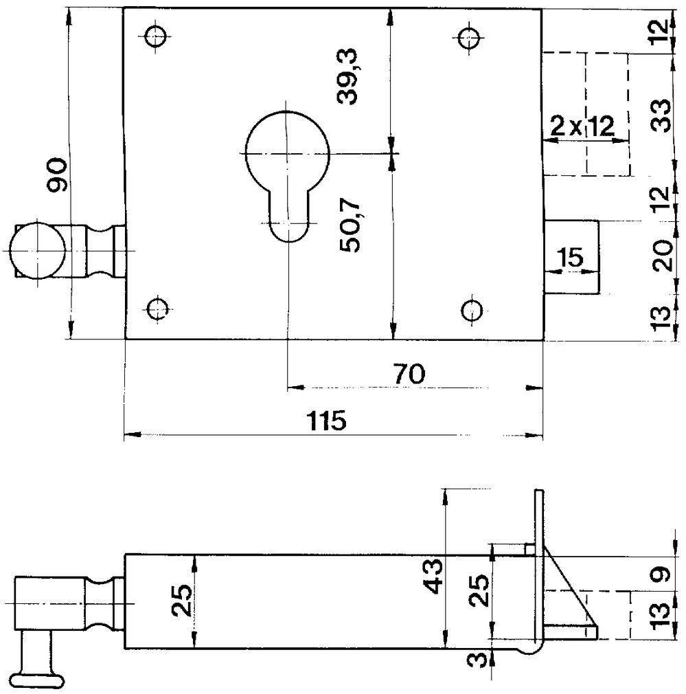 Serrures à tirage en applique pour portes d'entrée SCHÄNIS 2106