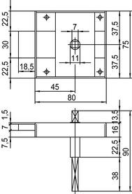 Verrous en applique pour portes de WC SCHÄNIS 2203
