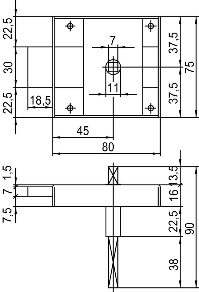 Serrature a scatola con catenaccio per porte WC SCHÄNIS 2203